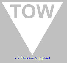 2 x Triangle - White TOW Arrow Race / Rally Car Decals / Stickers