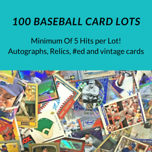 100 Baseball Card Lot *5 Hits* Autos, Relics, #ed and Vintage Cards