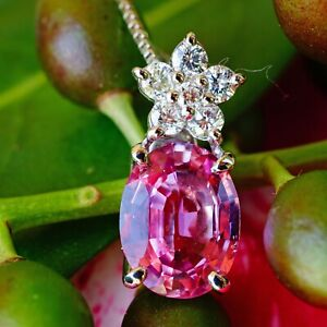 Pink-Saphir-Brillant-Anhaenger-Kette-750er-Gold-1-80-ct-0-19ct