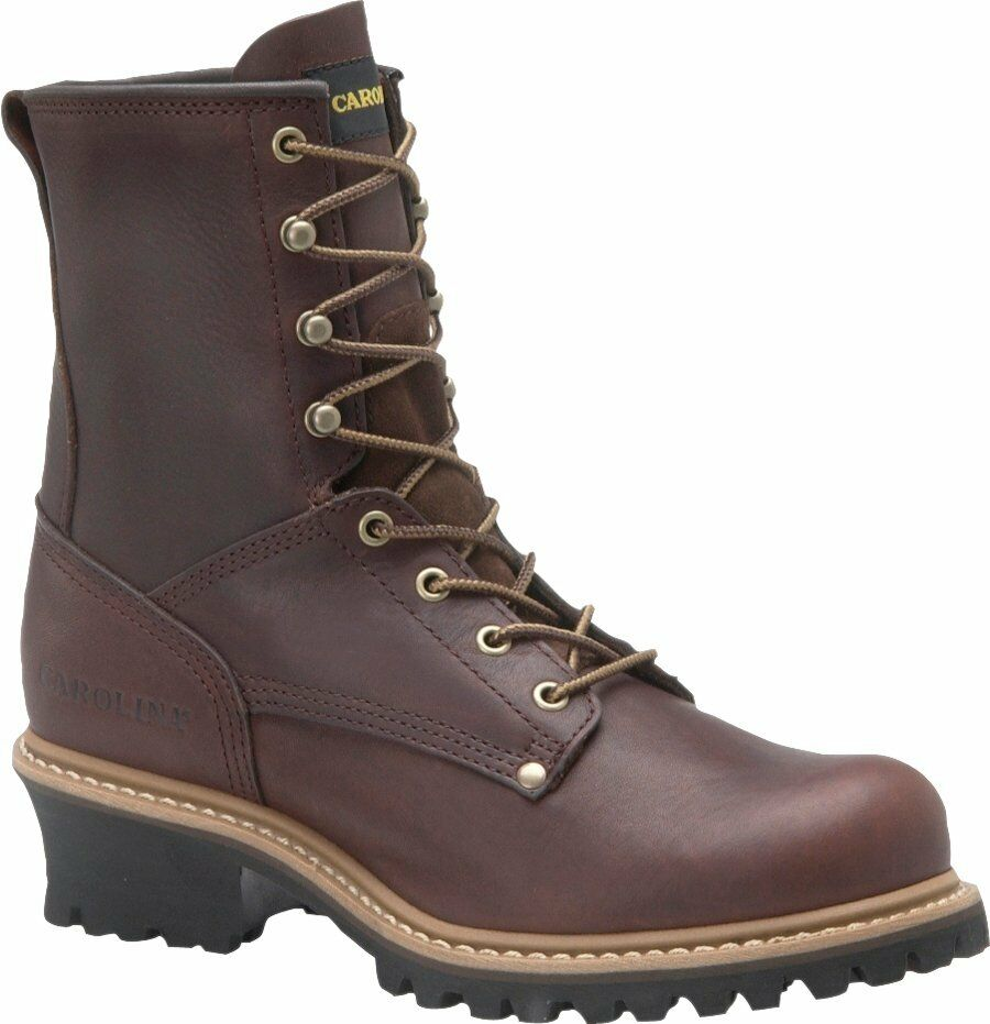 Men's Carolina 1821 8  Logger Safety Steel Toe Work Boot Brown Leather EE Wide