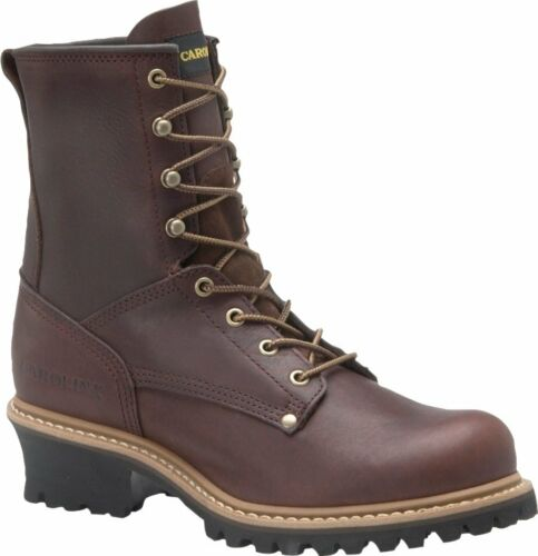 "Men/'s Carolina 1821 8/"" Logger Safety Steel Toe Work Boot Brown Leather EE Wide"