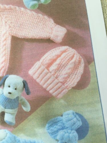 B9 30-56cm Knitting Pattern For Baby/'s Cardigans//Hat//Mittens In DK 12-22in