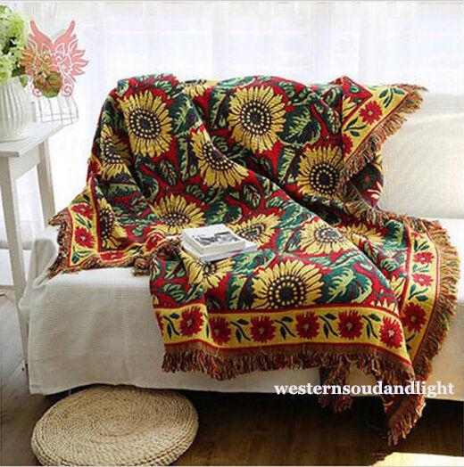 100% cotton Bohemia Sunflower Fringed Blanket Tapestry Throw Sofa Chair Startseite