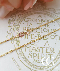 941e270cf46f7 Details about Fine 9ct Yellow Gold 1.1mm Diamond Cut Twist Curb Chain  Necklace 16