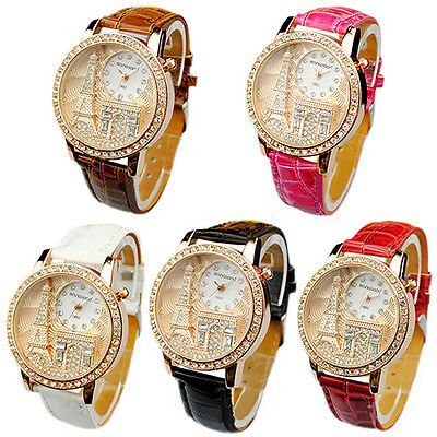 Hot Casual Women Lady Eiffel Tower Dial Faux Leather Band Quartz Wrist Watch