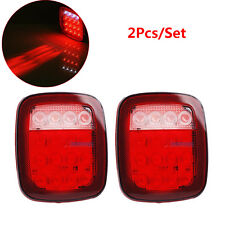 2x Red White 16 LED Truck Trailer Jeep JK TJ CJ YJ Stop Turn Signal Tail Light