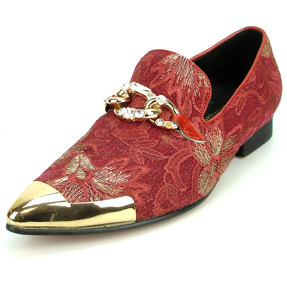 FI-7253 rot Embroiderot Slip on Metal Tip Fiesso by Aurelio Garcia