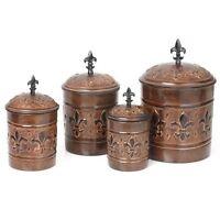 Antique Kitchen Canister Set 4 Piece Copper Decorative Copper Bronze Collectible