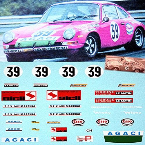 Porsche 911S Le Mans 1971 Team A.G.A.C.I #39 Verrier 1:24 Decal Abziehbilder
