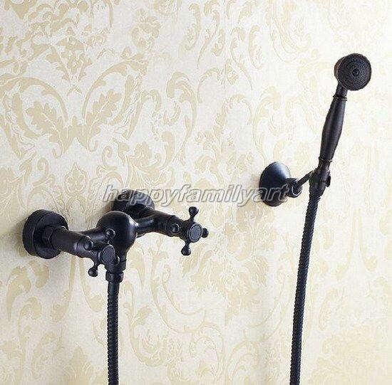 Grifo Ducha Baño de montaje en Parojo Negro aceitado latón grifo de la ducha de mano yhg011