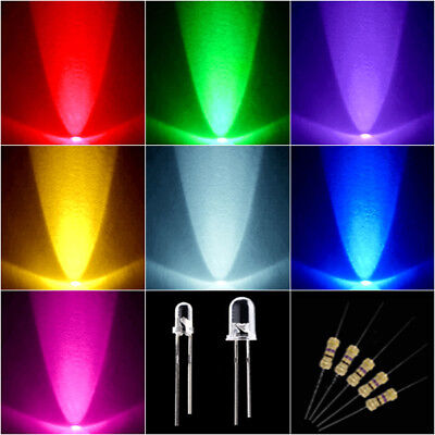 70×5mm Mixed Red Green Blue Yellow Purple Pink White LED Light 90 Free Resistor