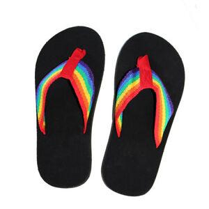 2db11d207d78 Gay Pride Rainbow Sandals Flip Flops Eco Friendly Black Sole Size ...