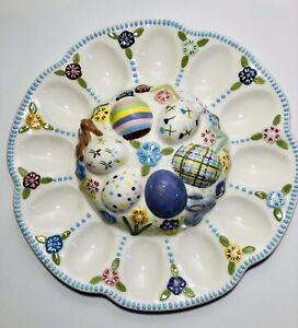 Ceramic-Easter-Deviled-Egg-Serving-Plate-Platter-12-Eggs-Spring-Flowers-Bunny
