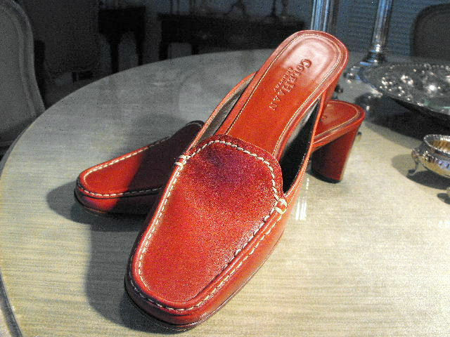 Fab! COLE HAAN Moroccan Rosso Calfskin Heeled Heeled Heeled Mules w/bianca Stitching/Wood Heel 7B 179a39
