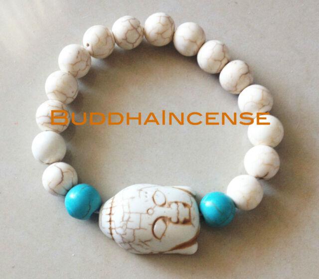 Turquoise One Side White Buddha Blue White Veins Ball Bead Beads Stretchy Buddhi
