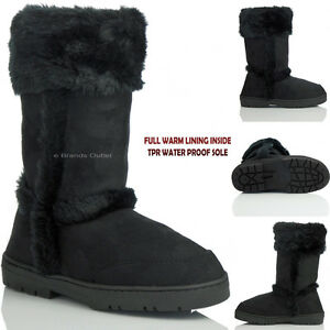 chaussures taille en noir fourrure dames femmes bottes cheville fausse plate Nouvelles d'hiver col PxvwFO