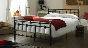 Oxford-Double-4ft-6inch-Black-Metal-Bed-FRAME-ONLY