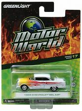 `55 Chevrolet Bel Air Coupe White/ Flames 1955 *** Greenlight  1:64 OVP