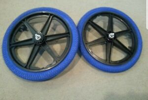 """NEW 20/"""" MAG WHEELS 3 SPOKE BLUE-GUMS TIRES TUBES FOR GT DYNO HARO BMX BICYCLES"""