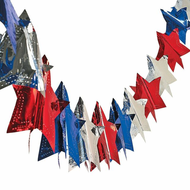 4th of July Decorations Red White Blue Metallic Tinsel Curtains for American Theme Party Patriotic Independence Day Photo Backdrops Props Decorations