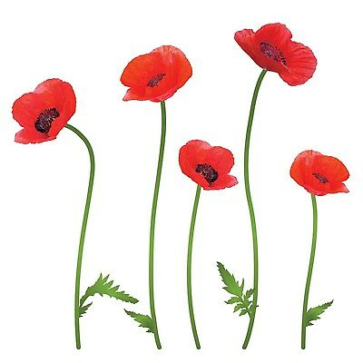 Lot 26 Studio Poppies Floral Removable Wall Decal Decor Red Flowers, Foliage