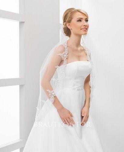 bk-111 mariée voile sobre dentelle voile Mariage 80cm Blanc Ivory//crème