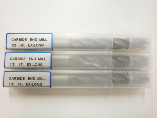 "3pc 1//2/"" EXTRA LONG YG1 GENERIC SOLID CARBIDE END MILL TIALN .5000 YG-1 ENDMILL"