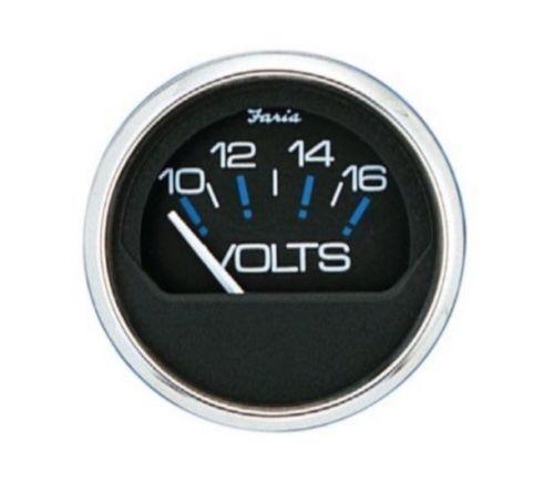 Faria VP9230A Voltmeter Gauge Analog Meter Chesapeake Black SS 10-16 Volt