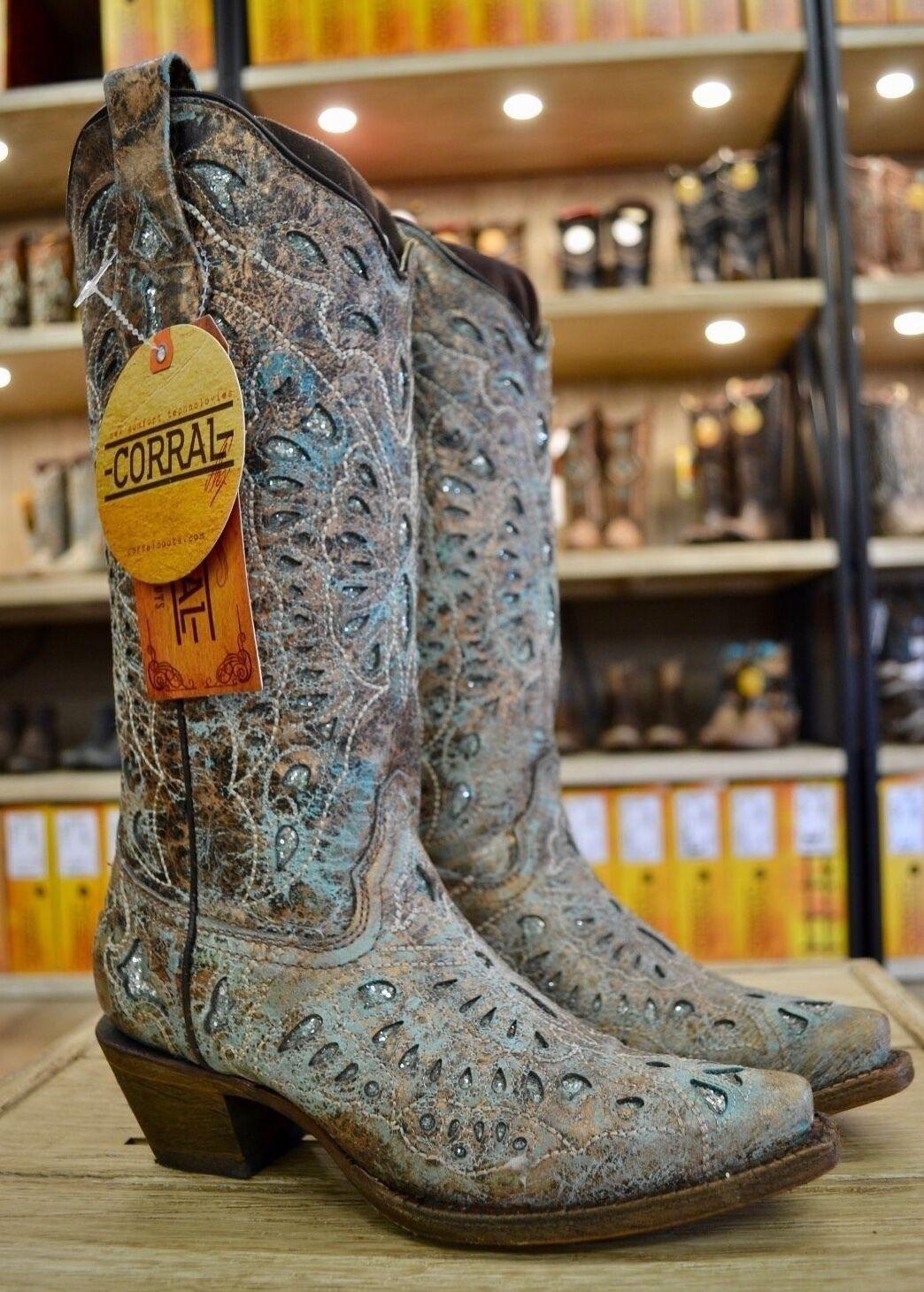 Corral Para Mujer Brillo Metálico Bronce Turquesa Turquesa Turquesa Mariposa Vaquera botas A2970  online al mejor precio