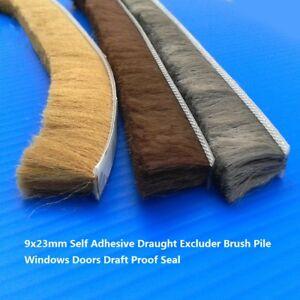 5M Roll Self Adhesive Draught Excluder Brush Pile Windows Doors Draft Proof Seal