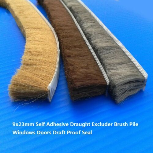 9x23mm Self Adhesive Draught Excluder Brush Pile Windows Doors Draft Proof Seal
