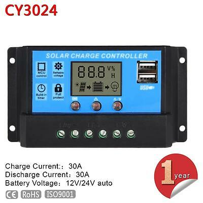 LCD 30A 12V 24V PWM Solar Panel Battery Protection Circuit Charge Controller MTU