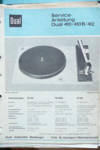 412 Plattenspieler,original Waren Jeder Beschreibung Sind VerfüGbar Anleitungen & Schaltbilder Service Manual Dual 410,410 B