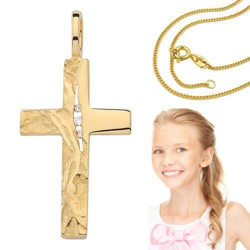 In vero oro 585 Bambini Comunione Zirconia Croce martellato martellato martellato con argentoo catena VG 48292e
