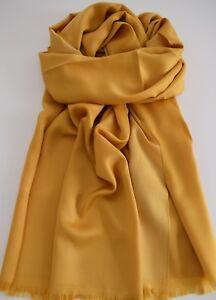 Seiden-Schal-in-Senf-Gelb-elegantes-Seidensatin-toller-Fall-leicht-glaenzend