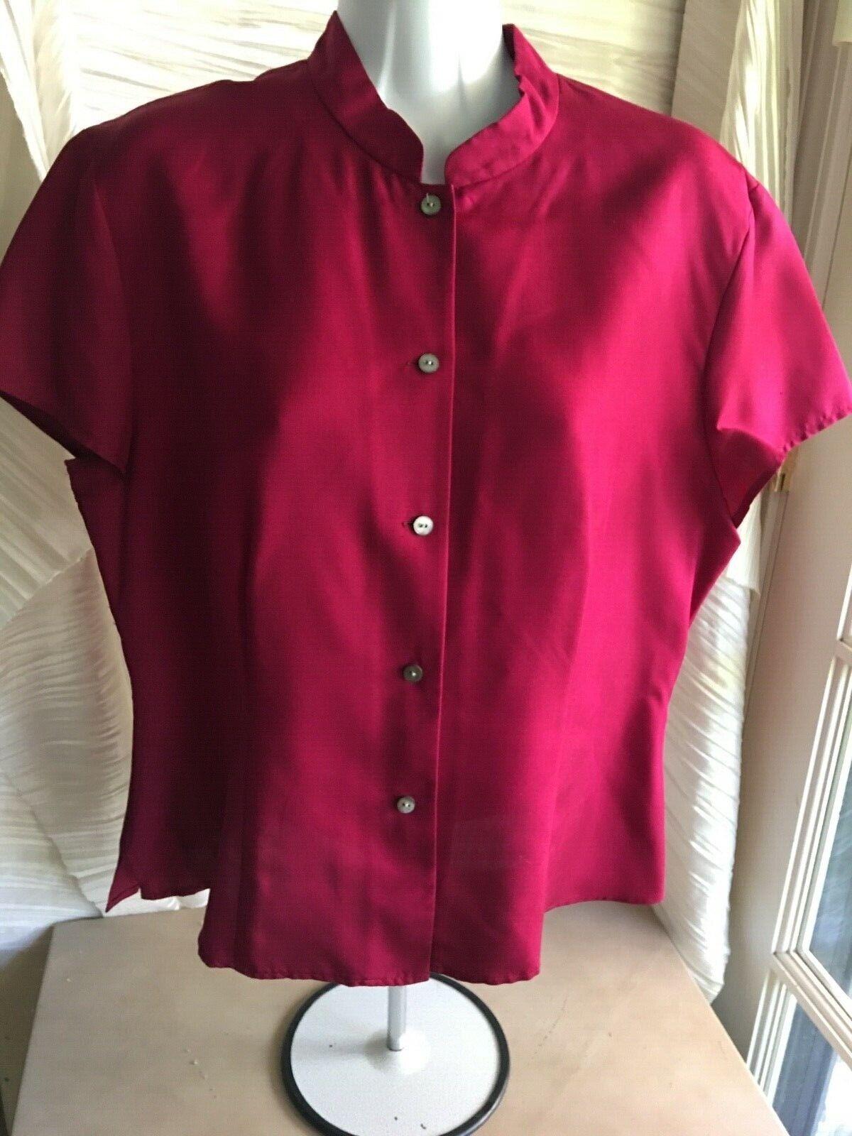 Talbots sz 12 deep burgundy silk blouse semi fitted cap short sleeves buttons