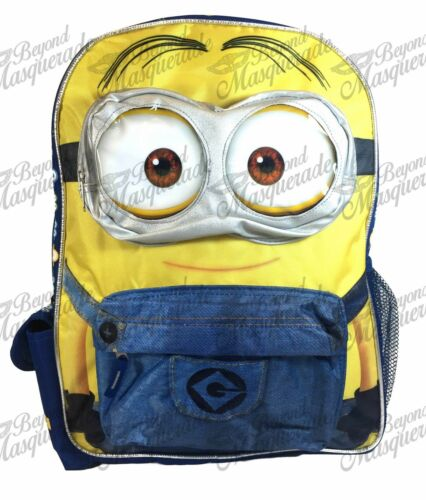 """16/"""" Despicable Me Minions Large Blue School Backpack 3D Eye Dave Minion Backpack"""