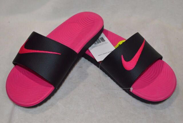 f6fa1cd275a565 Nike Kawa Slide Black Pink Youths Sandals UK 2.5 for sale online
