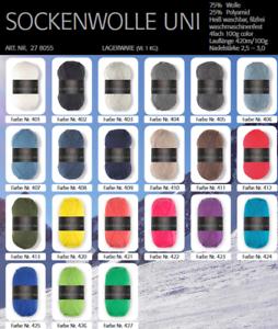 Pro-Lana-Sockenwolle-uni-100-g-4-faedig-alle-Farben