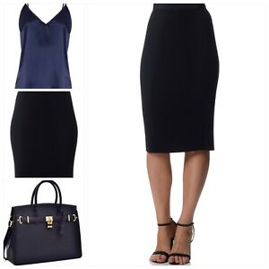 SPORTSCRAFT-Crystal-Pleated-Corporate-Evening-Cocktail-Pencil-Skirt-Navy-NEW