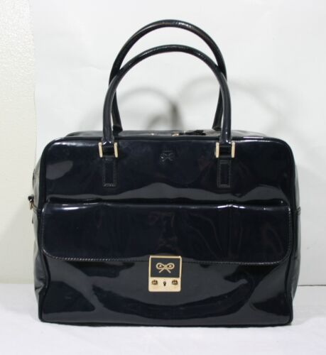 ANYA HINDMARCH NAVY PATENT LEATHER CARKER HANDBAG