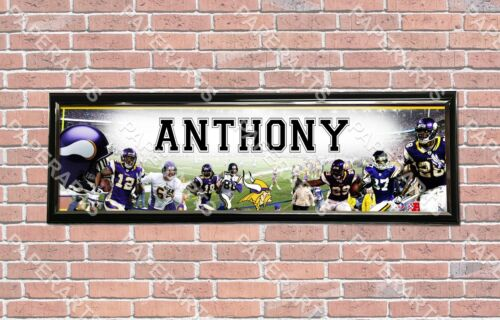 Personalized Customized Minnesota Vikings Name Poster Sport Banner with Frame