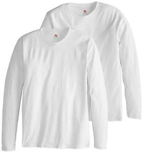 Hanes-Men-039-s-Long-Sleeve-Nano-Cotton-Premium-T-Shirt-Pack-of-White-Size-Large