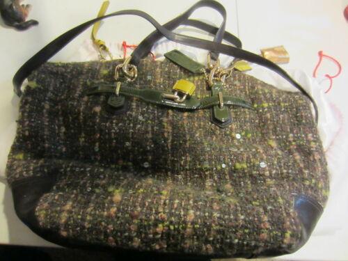 Vintage green tweed coach purse