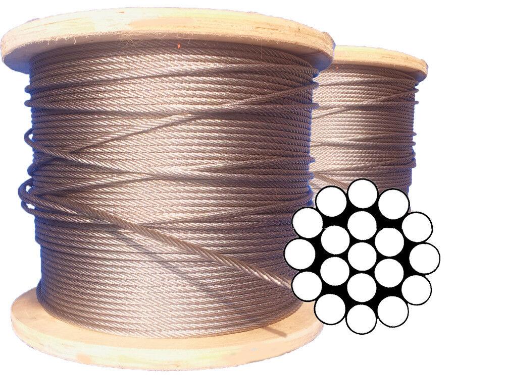Edelstahl Drahtseil V4a 1x9 - 3mm A4 AISI 316 bis 250m Länge - Seilklemme - Seil