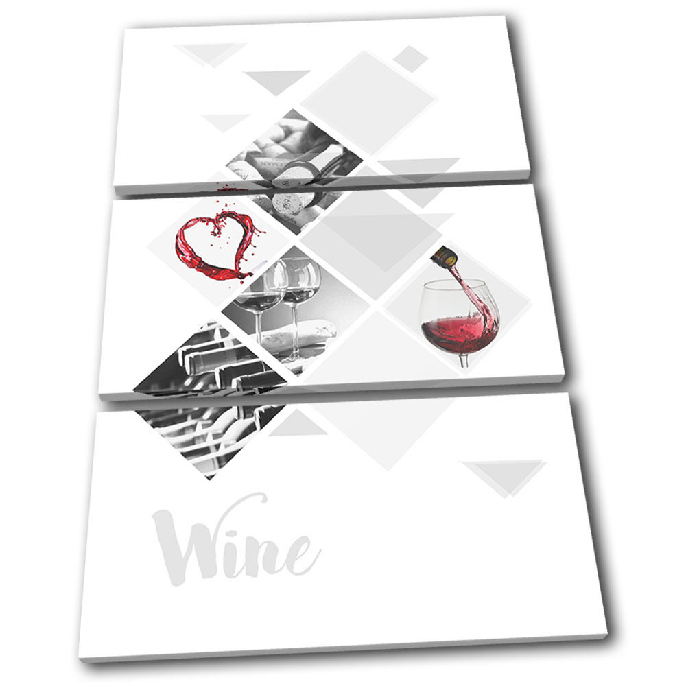 Wine Drink rosso Grapes Food Kitchen TREBLE TELA parete arte arte arte foto stampa c01279