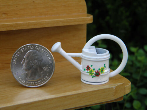 Miniature Dollhouse FAIRY GARDEN Accessories ~ White Metal Floral Watering Can