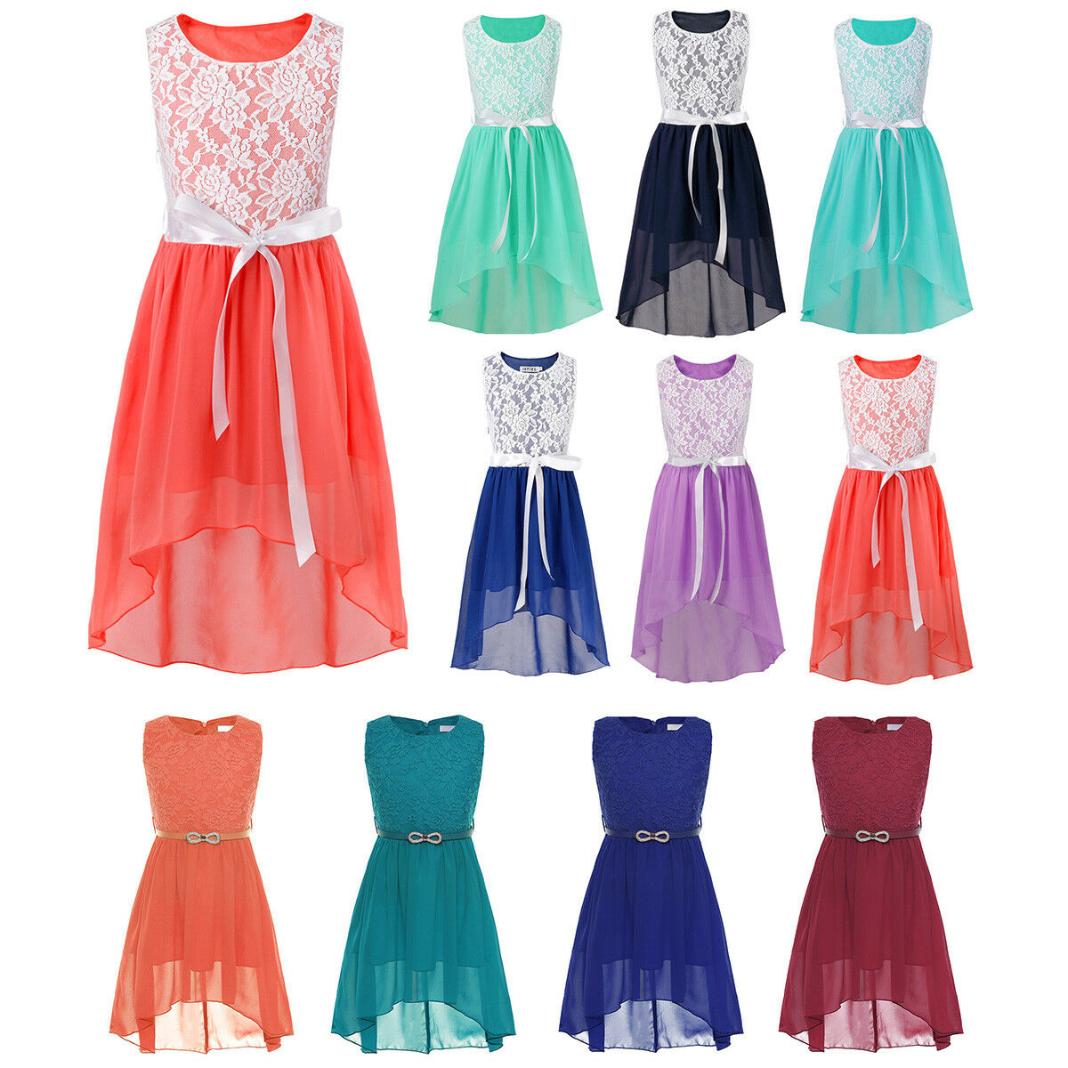 Flower Girls Princess Dress Kids Party Wedding Pageant Prom Lace Chiffon Gown