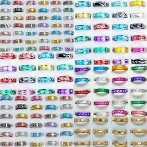 100stk-Grosshandel-Bulk-Ring-Aluminium-Fingerring-Unisex-Ringe-Band-Modeschmuck