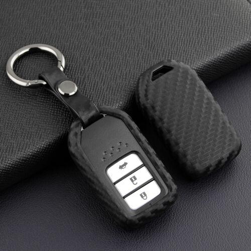 Carbon Fiber Car Smart Key Case Fob Cover For Honda Accord Civic CRV Fit HRV